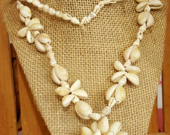 Vintage Cowrie Shell Necklace with Starburst Shell Pendant