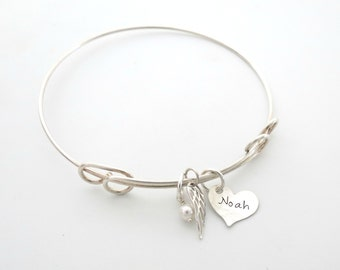Personalized Bracelet - Memorial Bracelet - Mother of an Angle - Silver WIng Bracelet - Personalized Jewelry - Personalized Bangle - Womens