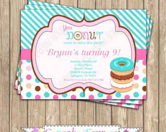 Donut Shoppe Birthday Party PRINTABLE Invitation #3 pink teal brown donuts pajama party DIY personalized