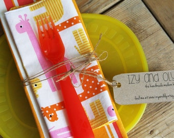 Placemat and Napkin Set for Kids  - Giraffes Napkin with a Sherbet Striped Placemat
