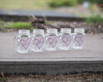 Bridesmaid gift, Bridesmaid gifts mason jar glasses. Wedding party gift idea. Maid of honor gift idea. Monogrammed gift idea. Rustic wedding