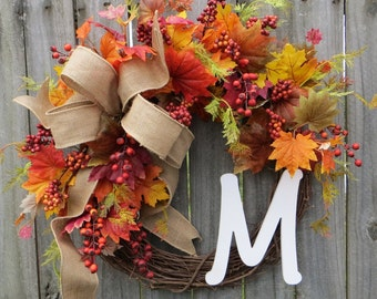 Fall Wreath, Wreath for autumn burlap wreath monogram wreath berry leaf wreath front door wreath burlap bow Halloween fall door wreaths