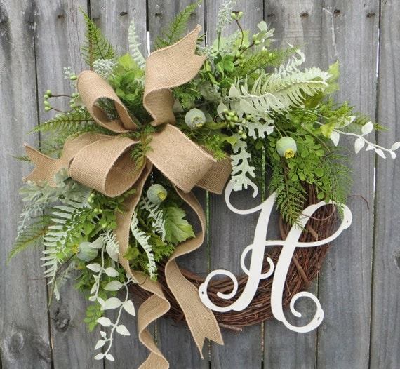 Door Wreath, Monogram Wreath, Burlap Wreath, Fern and Pod Wreath for All Year Round, Everyday Wreath, Green Wreath, Natural Wild Front Door