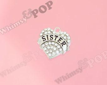 1 - Tibetan Silver Crystal Rhinestone Sister Heart Charm, Sister Charm, 20mm (R8-169)