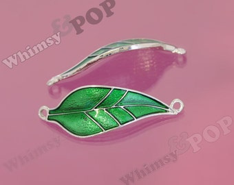 1 - Tibetan Silver Green Enamel Leaf Charms, Leaves Charms, Leaf Charm, 17mm x 50mm (6-4A)