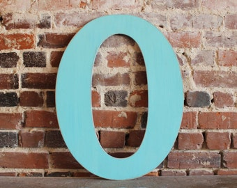 "24"" Wooden Letter O, Classic Font in Distressed Aqua- all letters available in many colors"