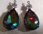 Vintage Swarovski Crystal Rhinestone Vitrail 18x13mm Pear Prong set in Rhodium Silver plated Pendant qty - 2
