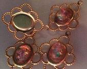 "Vintage Fire Opal 8x6mm harlequin Cabochons gold filigree Drops 3/4"" x 3/4"" QTY - 2"
