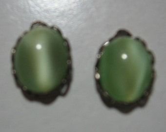 Vintage Peridot Moonstone Oval Cabochons in 14x11mm Ruffled Silver Settings QTY - 2