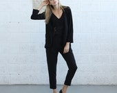 Winter Final Sale Black classic blazer, tie detailing blazer, straight fit blazer.