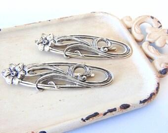 Art Nouveau Hair Pins, Scrolling Flowers, Floral Hair Pins, Silver Ox Brass, Silver Hair Clips, Silver Flower, Art Deco Hair pin WILDFLOWERS