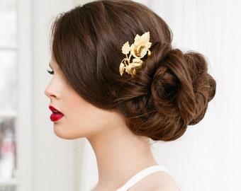 Victorian Hair Clip, Rose Hair Clip, Victorian Flower w/ Stem, Floral Hair Barrette, Bridesmaid Gift, Cabbage Rose, Victorian VICTORIAN ROSE