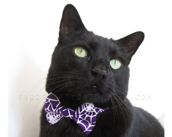 Sale! Cat Bow Tie - Wicked Web - Halloween Cat Accessory