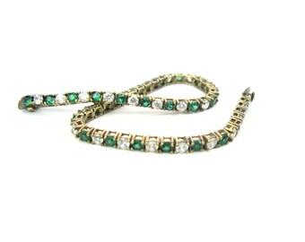 Cubic Zirconia Bracelet. Emerald & Crystal CZ Tennis Bracelet. Sterling Silver, Gold Vermeil. Vintage 1970s Art Deco Jewelry. May Birthday
