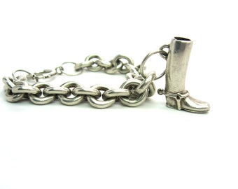 Charm Bracelet. Weighty Sterling Silver Cable Chain. English Riding Boot Charm. Equestrian. Unique Handmade. Vintage 1920s Jewelry. 1.78 oz