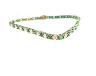 Cubic Zirconia Tennis Bracelet. Art Deco Style. Synthetic Emerald & Diamond CZ. Sterling 925 Gold Vermeil. Vintage 1970s Jewelry.