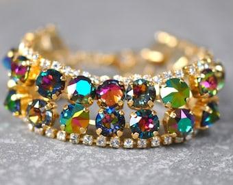 Rainbow Cuff Bracelet Swarovski Crystal Jewel Tone Denim Blue Metallic Emerald Mist Dark Rainbow Clear Crystal Rhinestone Tennis Bracelet