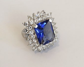 Vintage Sterling Silver Blue Sapphire Diamond Cluster Estate Jewelry Ring Blue Stone Ring Cocktail Ring Large Stone Formal Ring Parure Set
