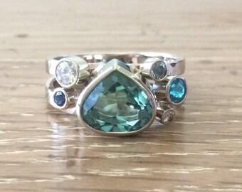 Multistone Ring-Large Gemstone Ring-Artisan Jewelry-Tourmaline Ring-Gemstone Ring-Jewellery-Large Tourmaline Stone-Handmade Jewelry