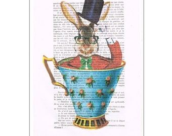 Rabbit painting, acrylic art, alice in wonderland, Animal Painting Picture Wall Art vintage, by painter Coco de Paris: rabbit in a cup