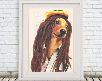 Bob Marley Daschund Print Poster Illustration Acrylic Painting Animal Portrait  Decor Wall Hanging Wall Art Drawing Glicee Digital