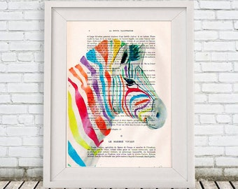 Burlesque Zebra Print, Rainbow Zebra, Original Artwork, Zebra Wall Art, Stripes, Nursery Artwork, Cute Christmas Gift, Wall Art Prints