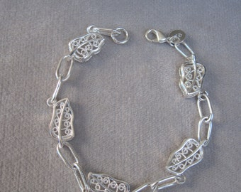 Sophisticated and Textured Sterling Silver Leaf Bracelet