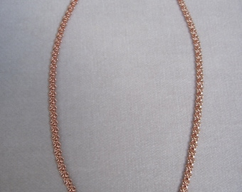 Rose Gold Dainty Double Linked and Lacy 5mm Wide Necklace