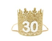 Ready to Ship|| 21st 30th 40th 50th  Birthday|| GOLD || sparkly white number lace crown headband|| ANY AGE