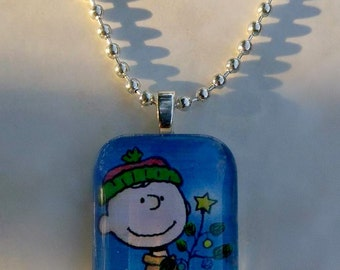 Charlie Brown Christmas glass tile pendant