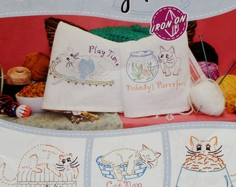 Aunt Martha's  Hot Iron On Transfers CLEVER KITTIES Embroidery Patterns Booklet