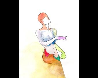 Wine, Original colorful watercolor drawing sketch, Human anatomy figure surrealist vivid art, Nude Woman pop art, NYC artist