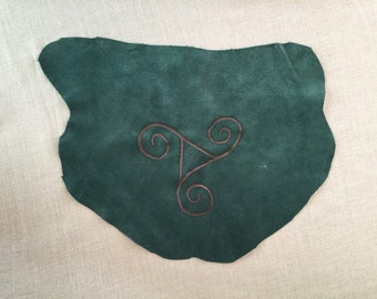 Triple Spiral Leather Altar Cloth - Leather Pyrography
