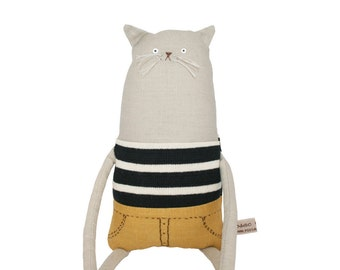 Grey Cat Doll with Breton Striped Top and Mustard Shorts, OOAK Art Doll, Grey Cat Soft Sculpture, Purrfect Gift for Cat Lover, Poosac