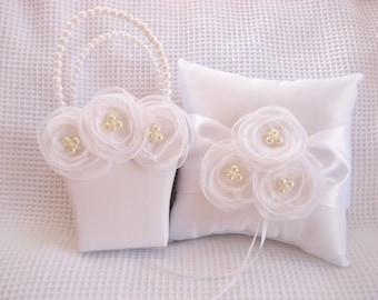 White Flower Girl Basket and Pillow  Singed Chiffon Flowers Ring Bearer Pillow, Flower Girl Basket Wedding Pillow