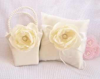 Ivory Cream Flower Girl Basket and Pillow  Singed Chiffon Flowers Ring Bearer Pillow, Flower Girl Basket Wedding Pillow