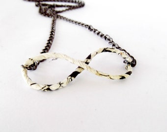 Infinity sign necklace, infinity jewelry, paper wire necklace, paper wire jewelry, infinity jewelry, recycled necklace, black and white