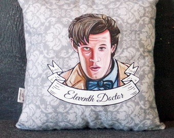 Doctor Who Eleventh Doctor (11) Matt Smith Square Pillow - 10x10in