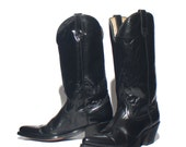 10 D | Acme Brand Men's Black Leather Cowboy Boots Tall Heeled Textured Leather