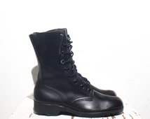 8 R | 1970's Vintage Combat Boots Black Leather Military Boots dated 1972 Standard Issue Army Boots
