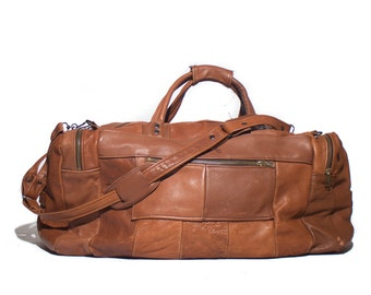 All Brown Patchwork Leather Duffle Weekender Carry All Travel Bag