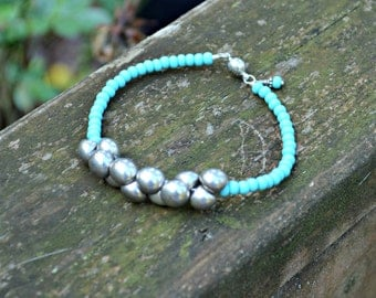 Silver Bubble Bracelet Silver and Turquoise Blue Czech Glass Bead handmade jewelry gift for her
