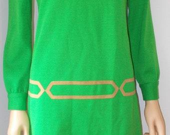 Green Knit Dress Leather Accent Misses Vintage Dress 1960s