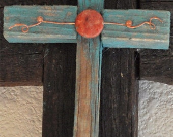 One of a kind turquoise wood rustic reclaimed wood cross