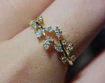 Marquise Diamond Cluster 18K Gold Wedding Band Ring FG176