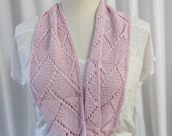Pink Infinity Scarf, Lace Knit Infinity Scarf, Pink Scarf, Women's Accessory, Pink Bamboo Blend Infinity Scarf