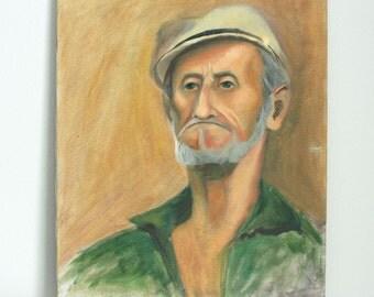 Vintage Fisherman Oil Painting - Large Portrait Painting - Nautical Art - Weathered Old Man Art Portrait - Mariner Painting
