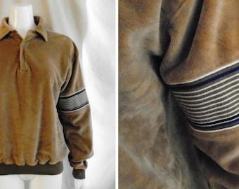 Vintage 1970's Shirt Man's Velour Vintage Pullover Polo Shirt Surfer Skateboarder Medium