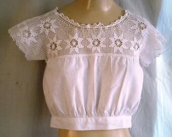 Victorian Corset Cover Antique Lingerie Victorian Whites Cotton Drawstring Neckline Wearable