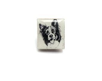Sheepdog Collie Dog Illustration Tile brooch.